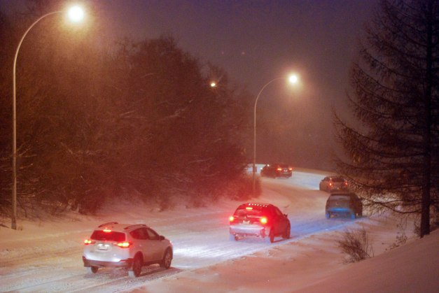Evening commuters crawl down Dawson Road in Edmonton's river valley
