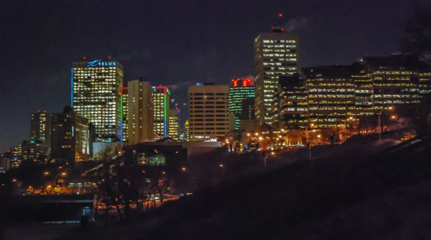Edmonton Skyline in December form Louise McKinney Park