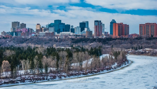 Softening Ice and Downtown Edmonton Skyline
