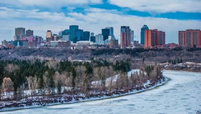 Softening Ice and Downtown Edmonton Skyline