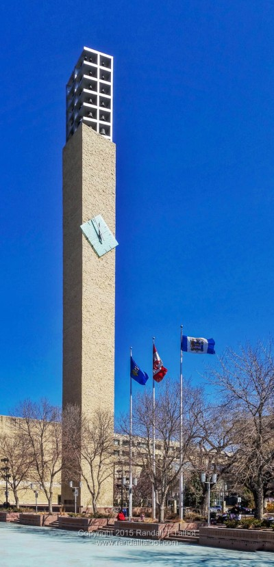 Clock Tower and Flags at Edmonton City Hall